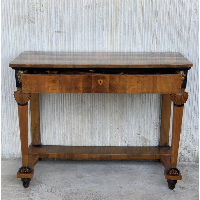 About Antique French Empire- Biedermeier fruitwood console table with drawer, early 19th century stunning and rare Dutch...