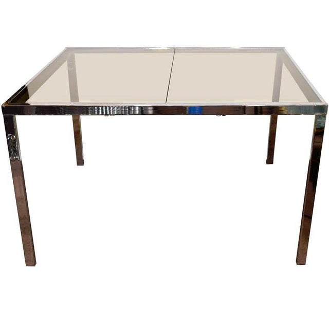 1970s Chrome and Grey Glass Extension Dining Table by Milo Baughman for Dia For Sale - Image 11 of 11