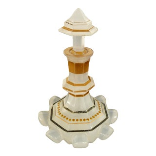 French Victorian Opaline Glass Enameled Scent Bottle with Stopper For Sale
