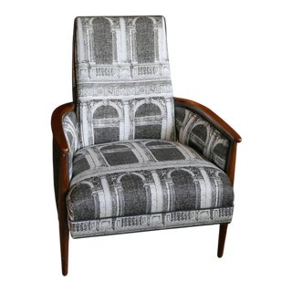 Adrian Pearsall Chair with Walnut Frame Upholstered in Signed Fornasetti Fabric