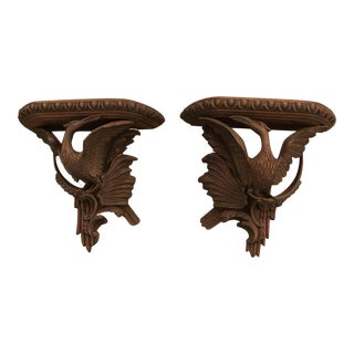 1950s Vintage French Wooden Bird Shelves - A Pair For Sale