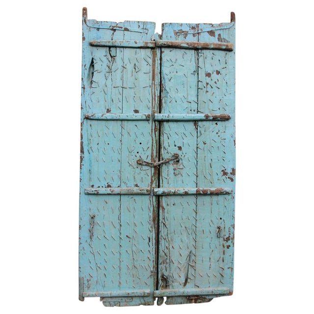 Teak & Iron Turquoise Doors - a Pair - Image 2 of 7
