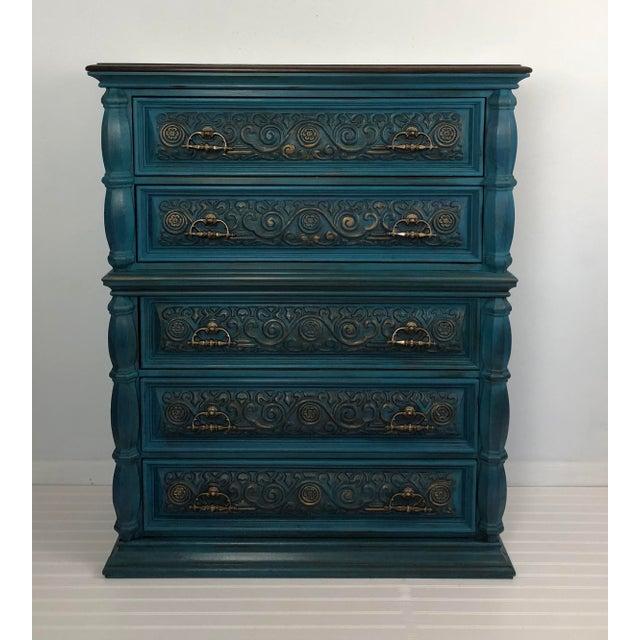 Vintage Bassett Five Drawer Ornate Dresser - Image 6 of 6