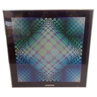 Modern Geometric Print by Victor Vasarely, 1960