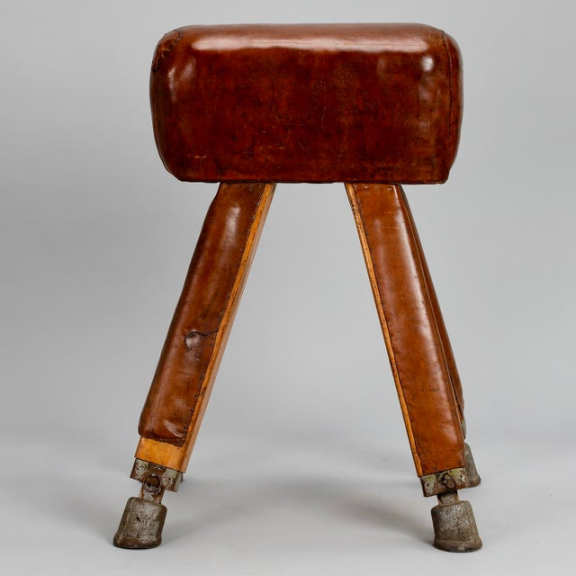 Country French Beechwood Metal & Leather Vaulting Horse c.1910 For Sale - Image 3 of 11