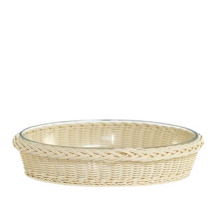 Medium Oval Glass Dish in Faux Rattan