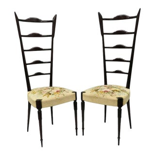 Vintage Mid-Century Paolo Buffa Chiavari Hall Side Chairs- A Pair For Sale