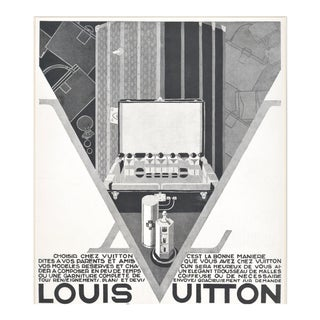 Matted Art Deco Vintage Louis Vuitton Advertisement for Luxury Products 1928 For Sale