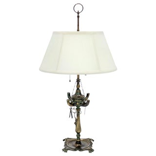 Brass Whale Oil Table Lamp W/ Tools For Sale