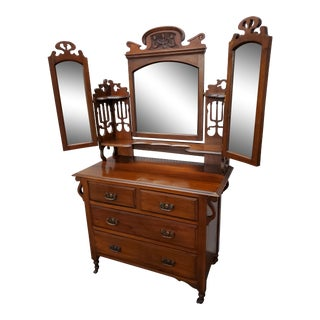 Early 20th Century Antique Tri-Fold Mirror Dresser For Sale