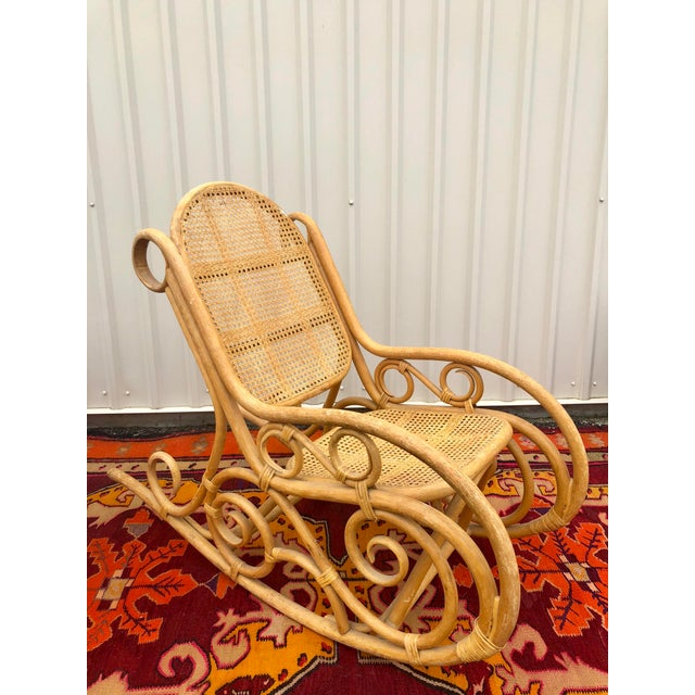 Wood Vintage Mid Century Bamboo Rattan Spiral Rocking Chair For Sale - Image 7 of 7
