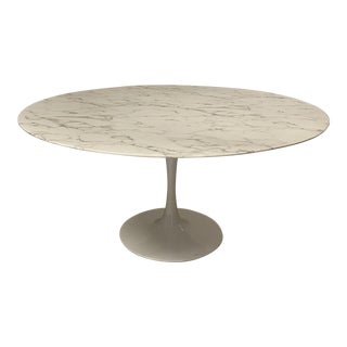 "Mid Century Modern 60"" Tulip Marble Dining Table For Sale"