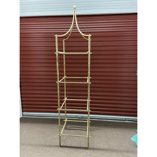 Gold Vintage Metal Faux Bamboo Etagere For Sale - Image 8 of 8