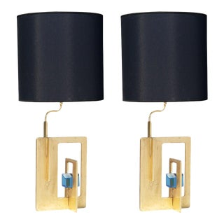 Pair of Italian Gilt Iron and Faceted Glass Lamps For Sale