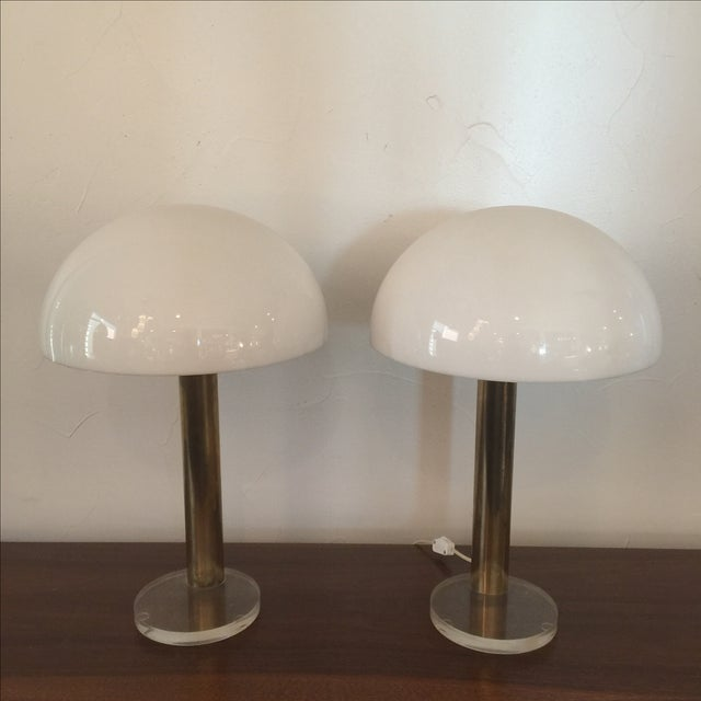 Pair of 1980 Gage Cauchios brass and lucite lamps. Original wiring in excellent condition. One is 3-way touch switch, it...