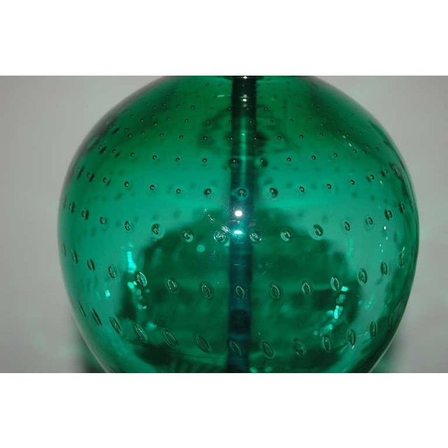 Vintage Murano Glass Table Lamps Green For Sale In Little Rock - Image 6 of 10