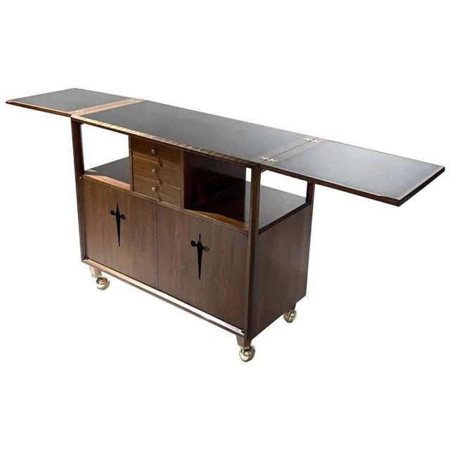 Rolling Convertible Walnut Edmond J. Spence Flip Top Bar or Serving Cart Buffet For Sale - Image 13 of 13