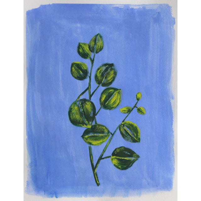 Cleo Plowden Chinoserie Botanic Tropical Leaves Painting by Cleo Plowden For Sale - Image 4 of 11