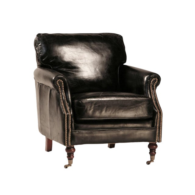 Aged Black Leather Club Chair For Sale