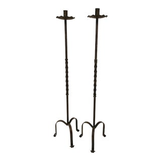 1990s Tall Wrought Iron Candle Sticks – a Pair For Sale