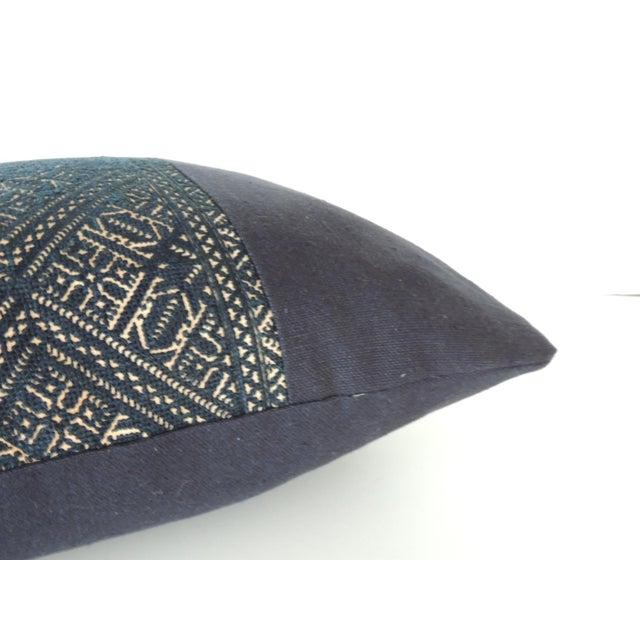 Woven black and indigo fez textile lumbar decorative pillow. Antique black Fez textile pair of lumbar decorative pillows...