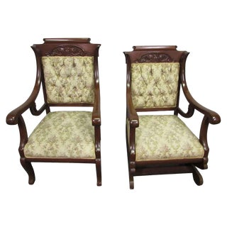 19th Century Carved Walnut Arm Chairs - a Pair For Sale