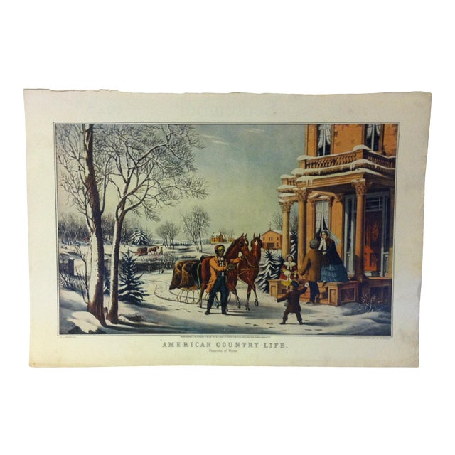"""Currier & Ives Color Print, """"American Country Life - Pleasures of Winter"""", 1947 For Sale"""
