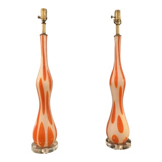 Mid-20th Century Murano Tall Table Lamps- a Pair For Sale