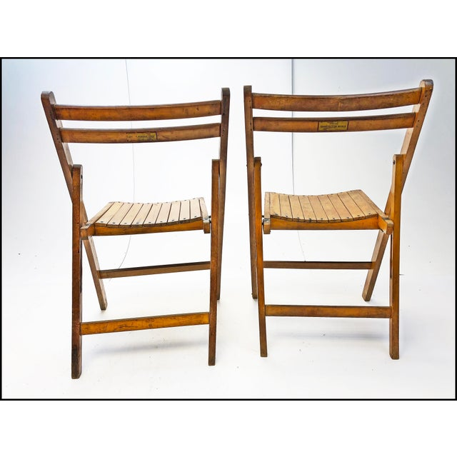 Vintage Rustic Slat Wood Folding Chairs - Set of 4 For Sale - Image 10 of 13