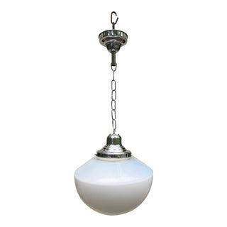 Vintage Nickel Hanging Fixture With Vintage Farmhouse Shade For Sale
