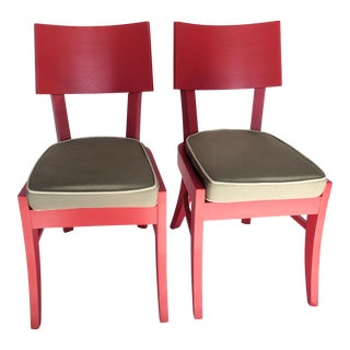 Red French Mid-Century Chairs - a Pair For Sale