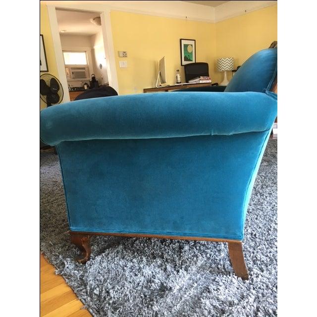 Peacock Blue Velvet Sofa For Sale - Image 4 of 6