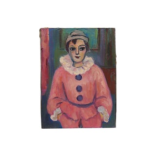 Mid-Century French Portrait of a Clown For Sale