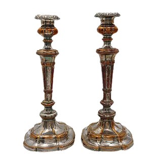 Antique Sheffield Candlesticks - Pair For Sale
