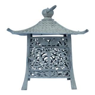 Gumps Japanese Iron Verdigris Pagoda Lantern