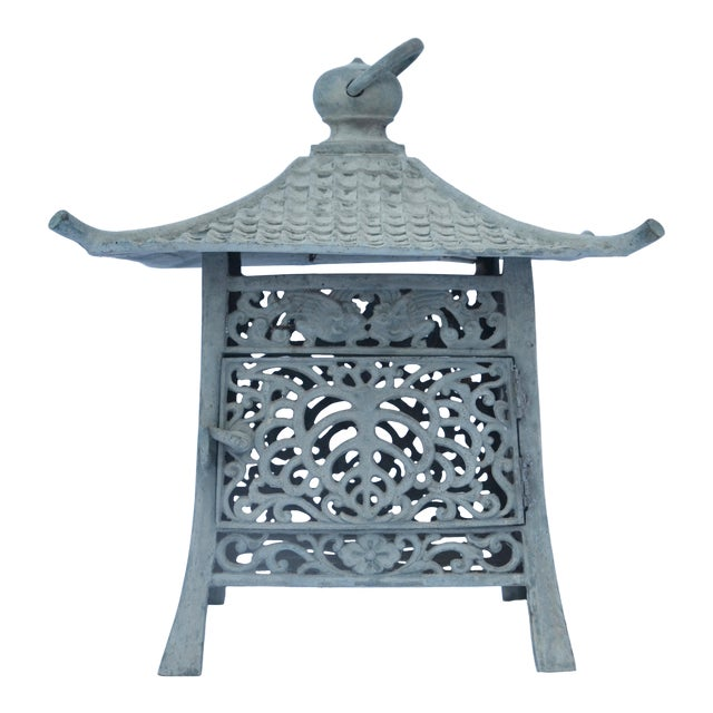 Gumps Japanese Iron Verdigris Pagoda Lantern For Sale