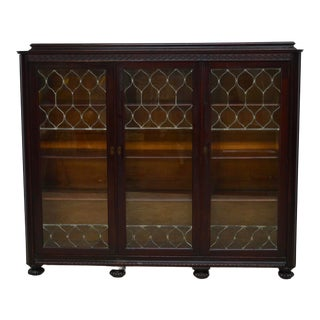 Antique Solid Mahogany Leaded Glass 3 Door Bookcase For Sale