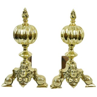 Pair of Chenets or Andirons With a Ball and Flame Finial, 19th Century For Sale