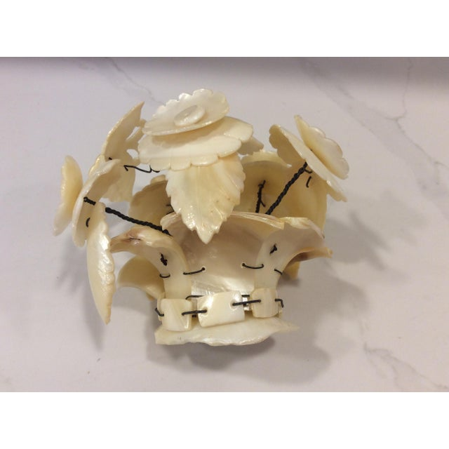 Victorian Carved Mother of Pearl Basket of Flowers Sculpture For Sale In New York - Image 6 of 6