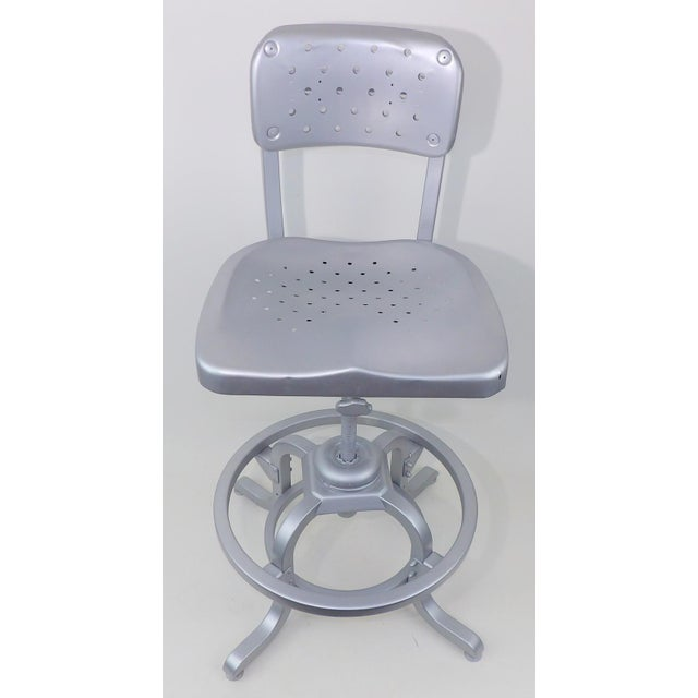 Good Form Mid-Century Modern Industrial Aluminum Drafting Swivel Stool Chair For Sale - Image 11 of 11