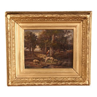 19th Century French Oil on Canvas Sheep Painting in Gilt Wood Frame