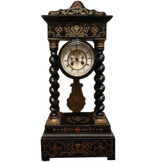 French Boulle Mantel Clock, 19th Century For Sale