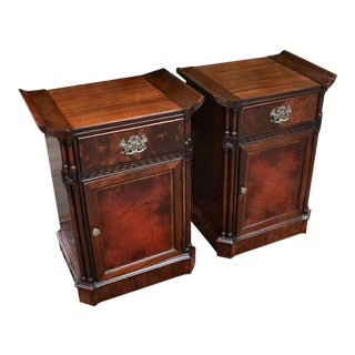 1930s Vintage Chinese Chippendale Mahogany and Leather Nightstands/Bedsides Tables - a Pair For Sale