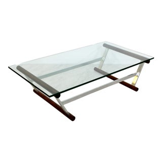 1970s Baughman Style Mid Century Modern Wood Chrome & Glass Coffee Table For Sale