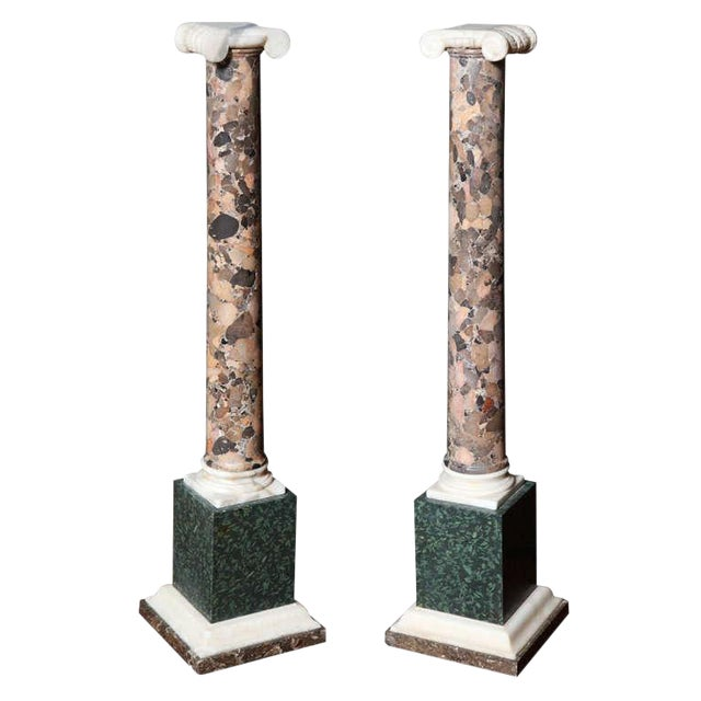 Pair of Grand Tour Columns in Porphyry, Breche and Alabaster For Sale