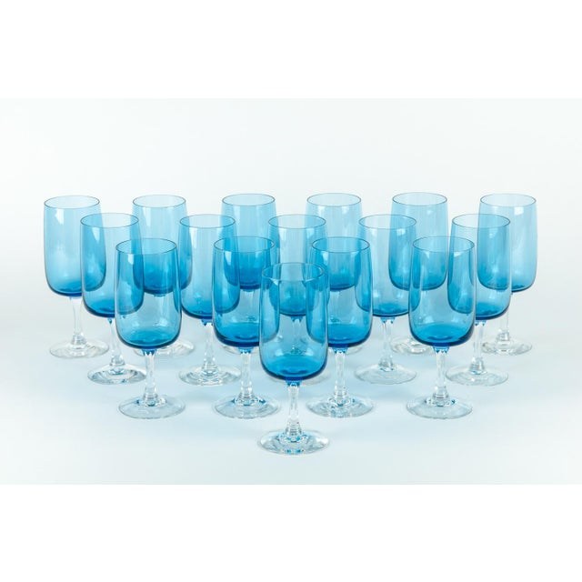 Turquoise Vintage Crystal Wine / Water Barware Glasses - Set of 16 For Sale - Image 8 of 9