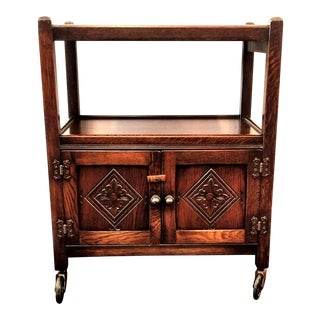 Vintage English Oak Jacobean Style Bar Cart / Tea Trolley With Cabinet For Sale