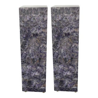 Late 20th Century Modern Square Amethyst Pedestals - a Pair For Sale