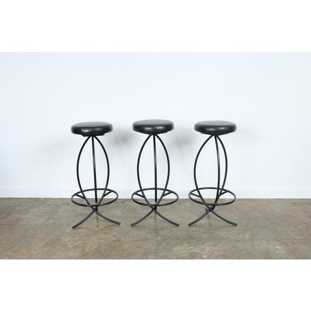 Wrought Iron Leather Seat Bar Stools - Set of 3 - Image 2 of 11