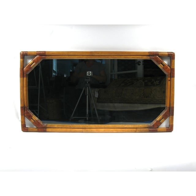 Vintage Drexel Heritage Bamboo & Leather Mirror - Image 3 of 6